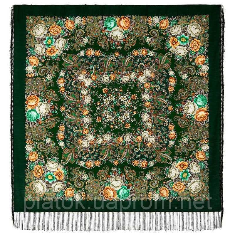 Любушка-голубушка 1824-9, павлопосадский платок шерстяной с шелковой бахромой