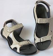 Mante Xbiom! Кожаные бежевые женские летние сандалии босоножки без каблука, смотрятся стильно!!!