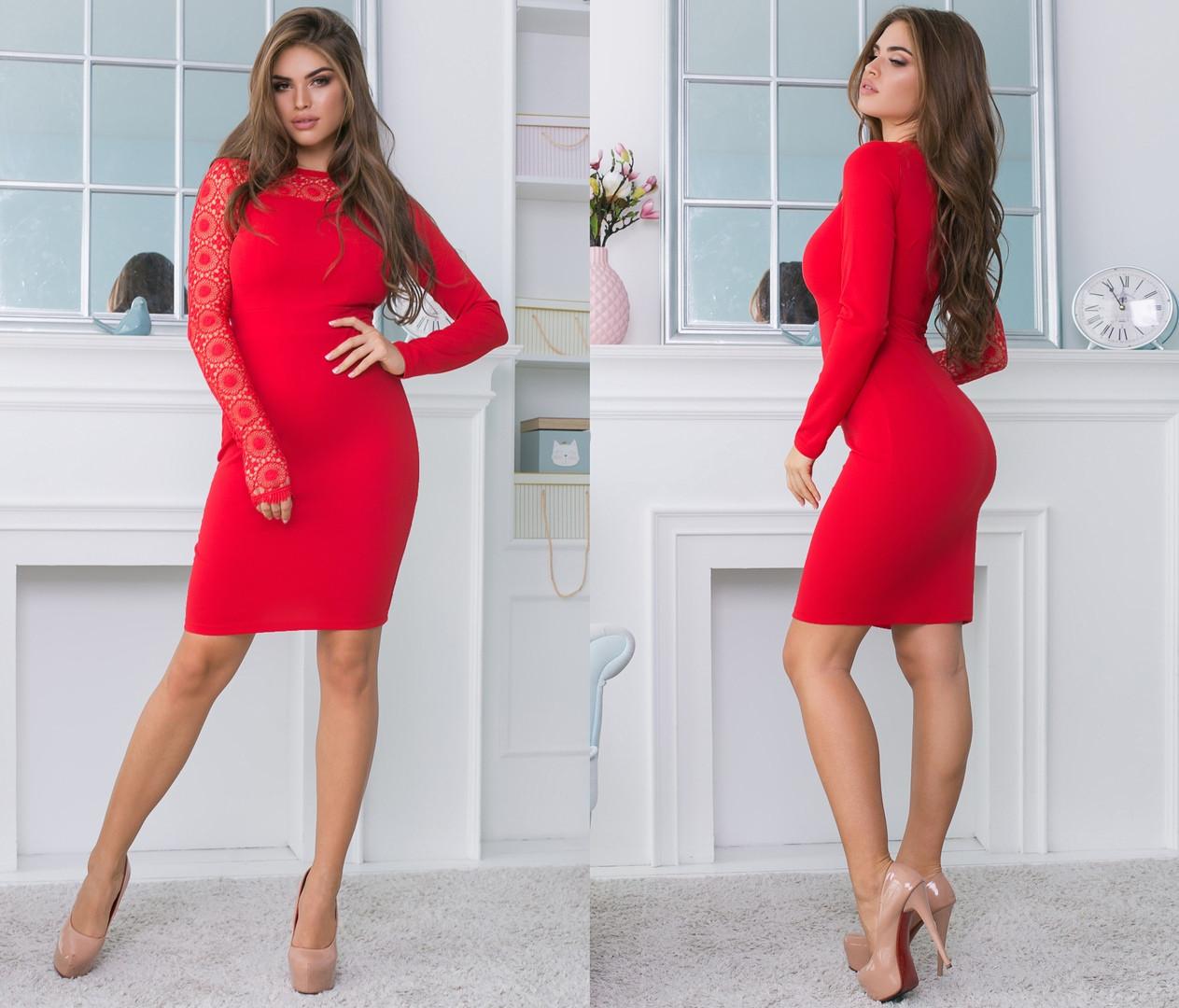 """Облегающее комбинированное миди-платье """"Vanessa"""" с кружевом (4 цвета)"""