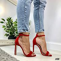 Красные босоножки на каблуке Asya ремешок вокруг ноги закрытая пятка