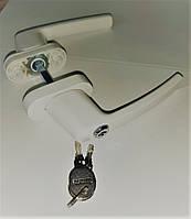 Ручка для балконных дверей (окон)  ПВХ белая/коричневая с замком и ключом
