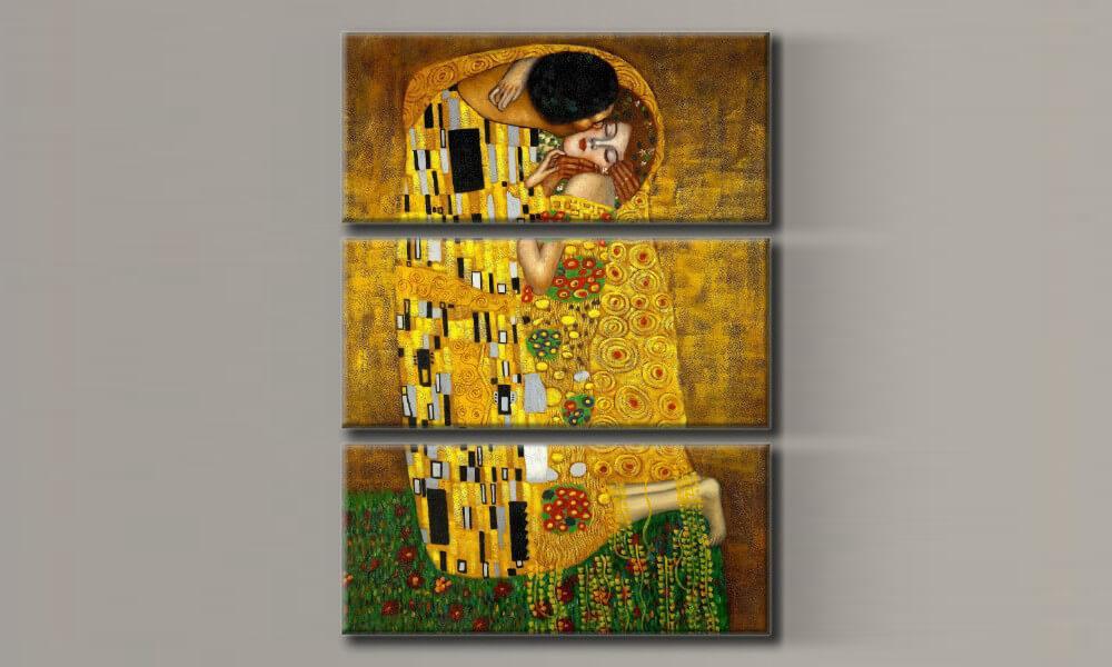 Модульная картина Густав Климт - Поцелуй 77,5х55 см (HAT-147)