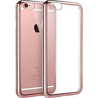 Чехол силиконовый с бампером под металлик iPhone 6/6S, Rose Gold