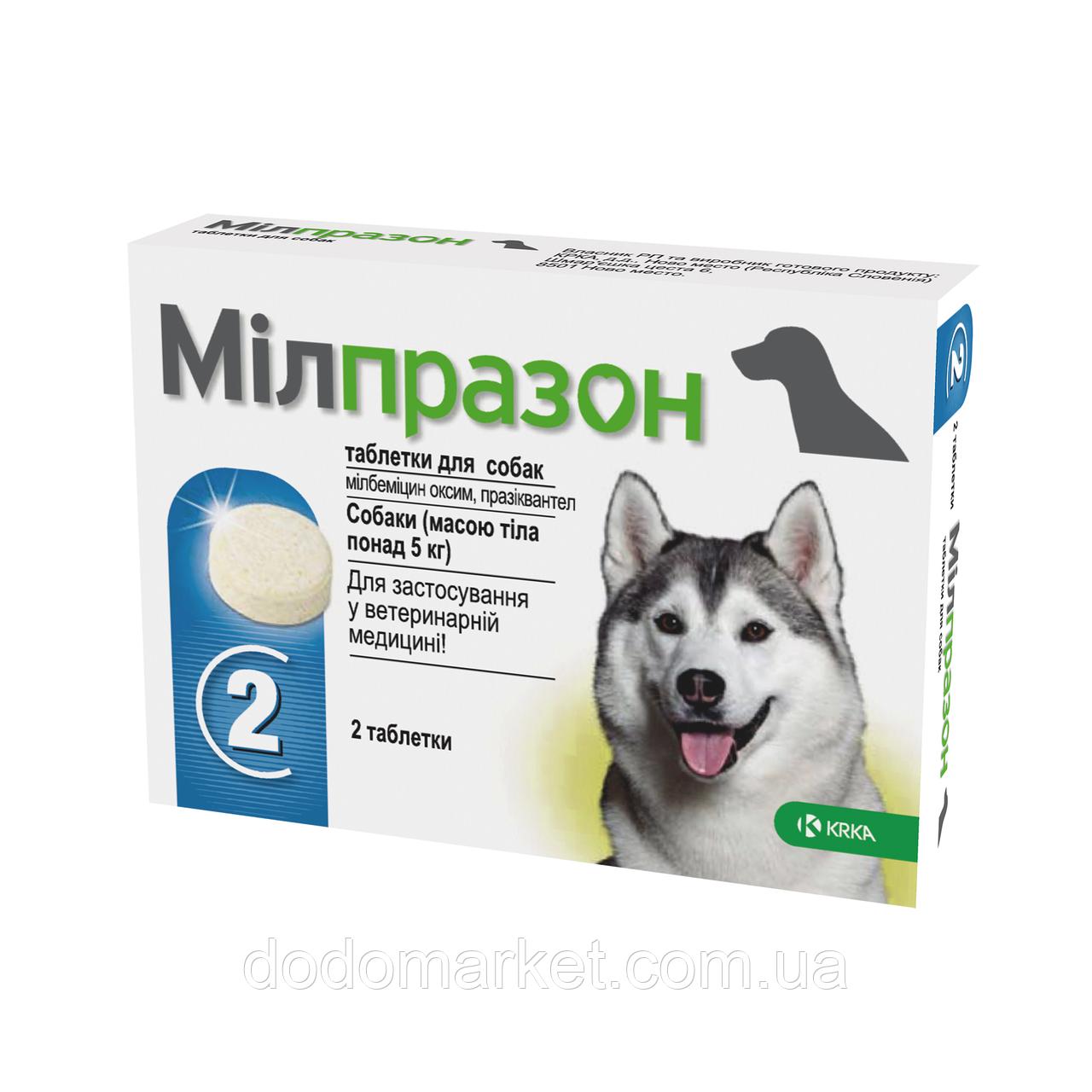 Милпразон антигельминтик для собак более 5 кг (2 таблетки 12,5 мг/125 мг)
