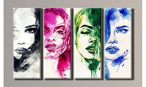 Модульная картина Портреты девушек 62х102 см (HAF-035)