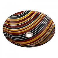 Оригинальный накладной умывальник стеклянный круглый 420 мм (HR 8376)
