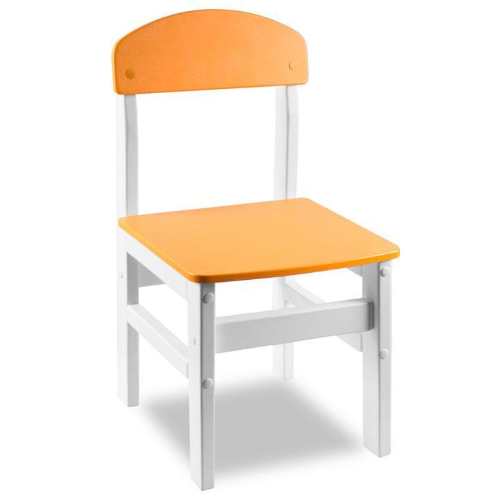 """Стульчик из натурального дерева """"Woody"""" белый с оранжевой сидушкой."""