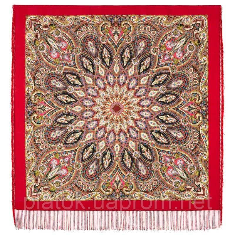 Золотая клетка 1826-5, павлопосадский платок шерстяной с шелковой бахромой