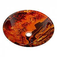 Оригинальный накладной умывальник стеклянный круглый 420 мм (HR 8379)