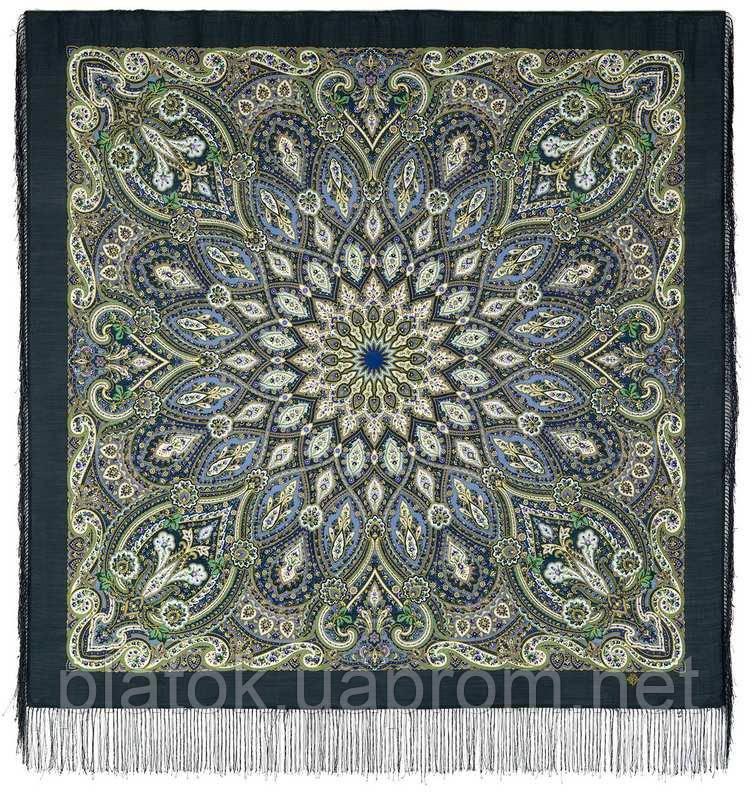 Золотая клетка 1826-12, павлопосадский платок шерстяной с шелковой бахромой