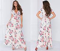 """Летнее длинное платье на запах """"Линнея"""" с коротким рукавом (5 цветов)"""