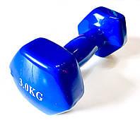 Гантель для фитнеса обрезиненная 3 кг, фото 1