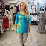 Блуза туника ментол холодок вискоза трикотаж лето 48-52, фото 2
