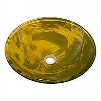 Умывальник оригинальный накладной стеклянный круглый 420 мм (HR 8485)