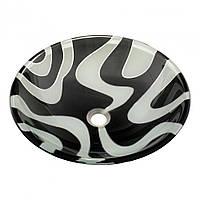 Умывальник оригинальный накладной стеклянный круглый 420 мм (HR 8441)