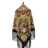 Душа розы 1838-10, павлопосадский платок (шаль) из уплотненной шерсти с шелковой вязаной бахромой, фото 2