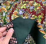 Душа троянди 1838-10, павлопосадский хустку (шаль) з ущільненої вовни з шовковою бахромою в'язаній, фото 4