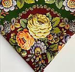 Душа троянди 1838-10, павлопосадский хустку (шаль) з ущільненої вовни з шовковою бахромою в'язаній, фото 6