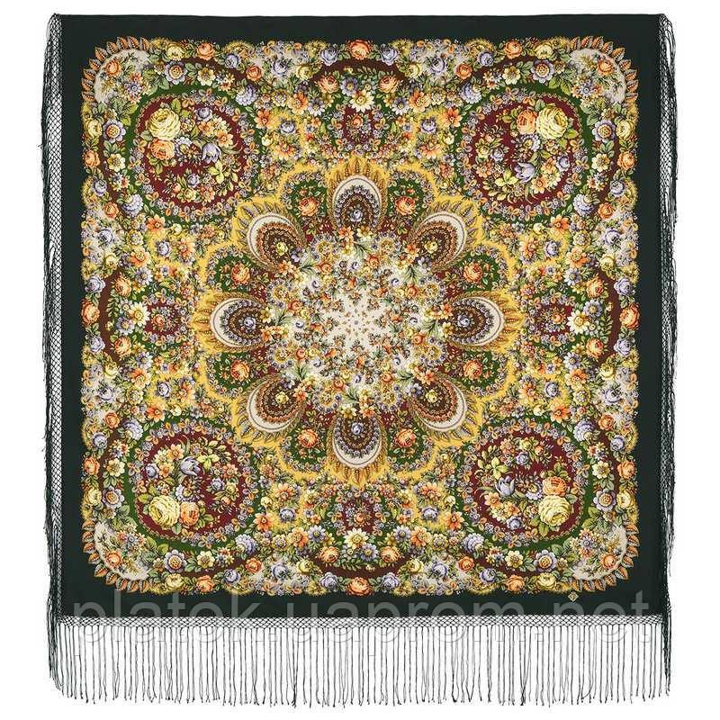 Душа троянди 1838-10, павлопосадский хустку (шаль) з ущільненої вовни з шовковою бахромою в'язаній