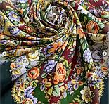 Душа троянди 1838-10, павлопосадский хустку (шаль) з ущільненої вовни з шовковою бахромою в'язаній, фото 5