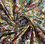 Душа розы 1838-10, павлопосадский платок (шаль) из уплотненной шерсти с шелковой вязаной бахромой, фото 7