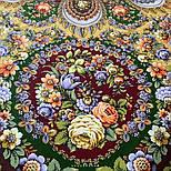 Душа розы 1838-10, павлопосадский платок (шаль) из уплотненной шерсти с шелковой вязаной бахромой, фото 9