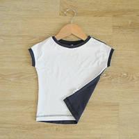 Бело-синяя футболка. Унисекс. Размер: 86 см, фото 1