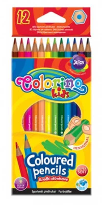 Карандаши цветные шестигранные, 12 цветов, COLORINO, 14687PTR/1
