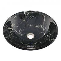 Оригинальный накладной умывальник стеклянный круглый 420 мм (HR 8335)