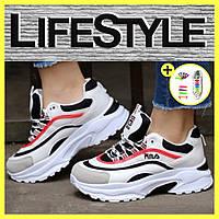 Женские подростковые кросовки в стиле Fila на платформе (36-41 р.)
