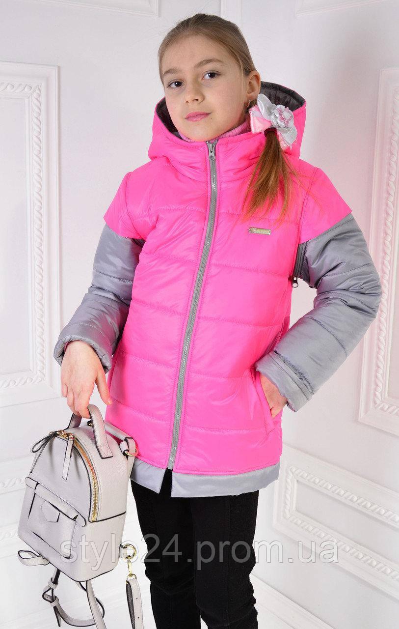 Дитяча осіння куртка-жилетка на синтепоні.Р-ри 122 -140