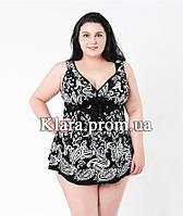 Красивый черный женский купальник-платье (54 раз.), с узором, раздельный, высокие плавки, мягкая чашка.