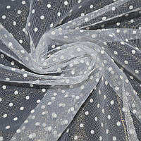 Фатин белый в белый горох ш.150 ( 14807.006 )