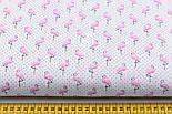 """Лоскут ткани """"Мини фламинго и чёрный горошек"""" на белом №1947, фото 3"""
