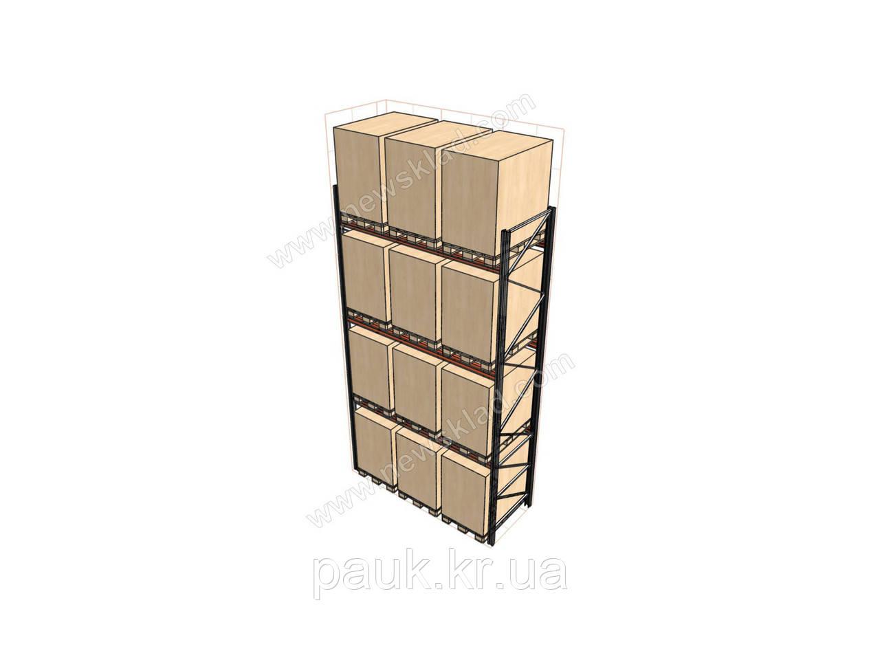 Стеллаж складской паллетный Н5000хL2700х1100 мм(пол.+3 уровня по 2300 кг на уровень), стеллаж для паллет