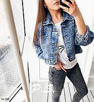 Стильная женская джинсовая короткая куртка, фото 1