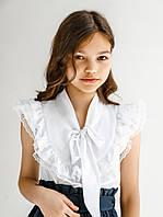 Нарядная белая блуза в школу 116,122,128,134,140,146 рост