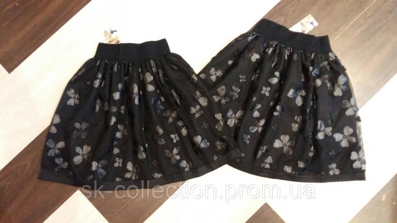 Школьная юбка фатин с бабочками, размеры:128, 134, 140, 146, 152 см.