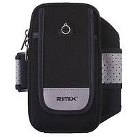 """Спортивная сумка на руку для смартфонов до 7"""" дюймов Rimix черная со светоотражающей полосой, фото 1"""