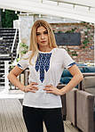 Белая хлопковая футболка женская с вышивкой, фото 3