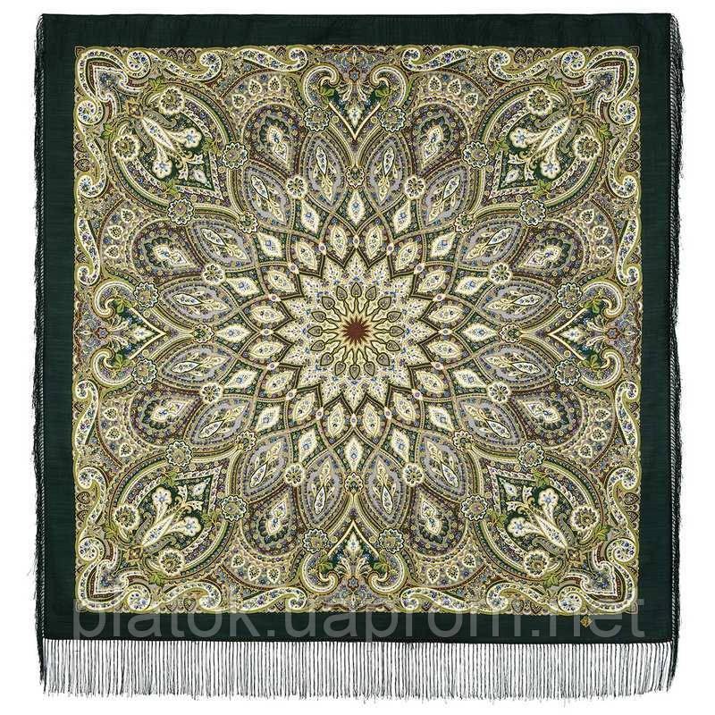 Золотая клетка 1826-9, павлопосадский платок шерстяной с шелковой бахромой