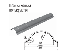 Планка конька полукруглая.0.5 мм. РЕ 25 мк -Термастил.