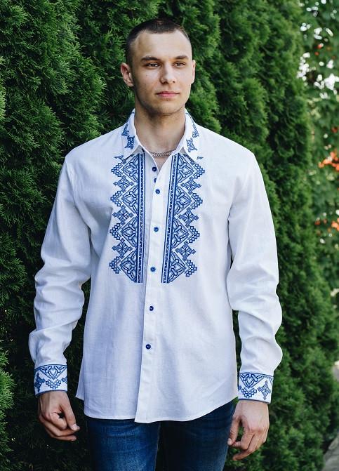 Дизайнерская вышитая сорочка мужская из натурального льна