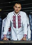 Дизайнерская вышитая сорочка мужская из натурального льна, фото 2