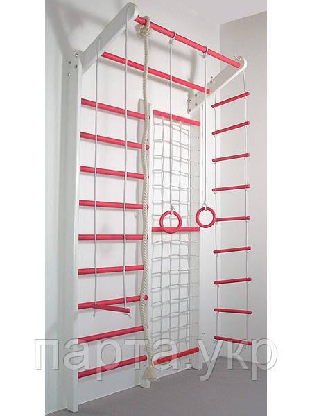 Домашняя спортивная стенка бело-розовая, 230 см