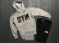 Мужской спортивный костюм GYM, гим, серый верх, черный низ (в стиле)