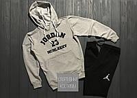 Мужской спортивный костюм Jordan, Джордан, серый верх, черный низ (в стиле)