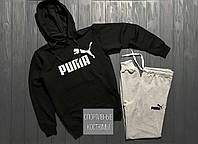 Мужской спортивный костюм Puma, Пума, черный верх, серый низ (в стиле)