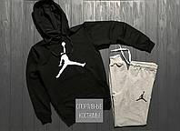 Мужской спортивный костюм Jordan, Джордан, черный верх, серый низ (в стиле)