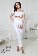 """Женские модные брюки с высокой талией с рюшами  """"Панни"""" и поясом-бантом белые"""